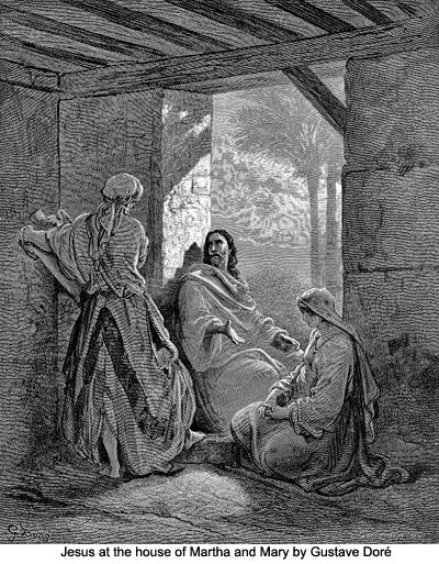 Исус при Марта и Мария, Густав Доре